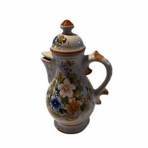 Antique Hand painted Italian crackle coffee pot.